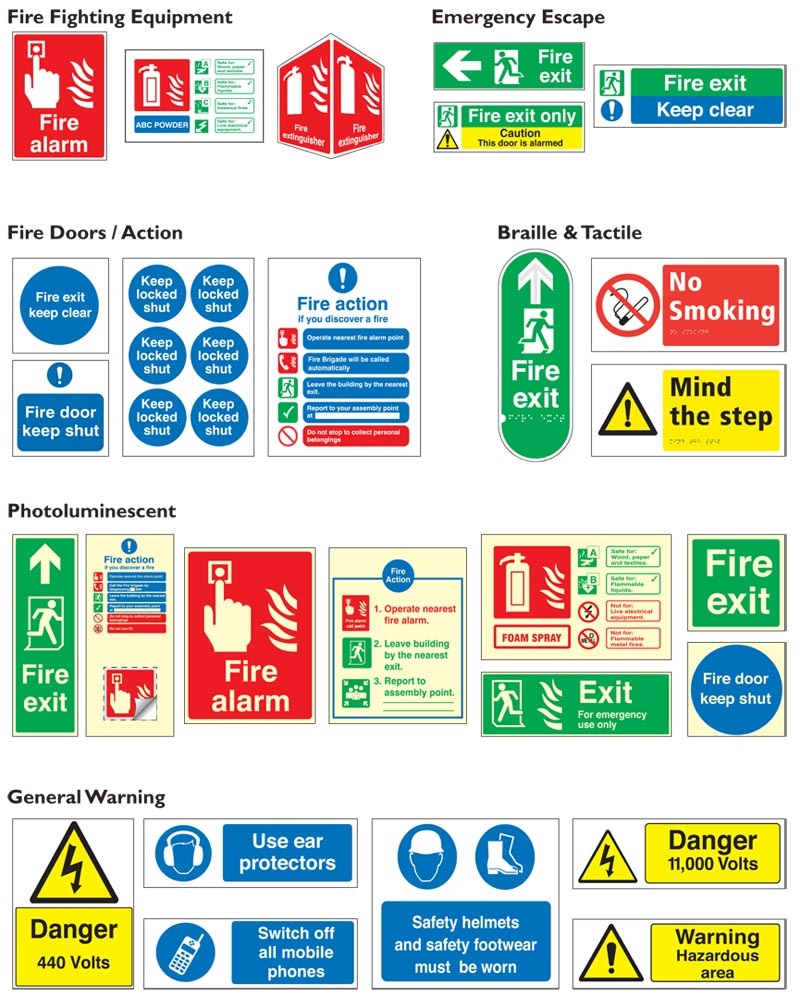 Fire, Safety & General Warning Signs Example 2